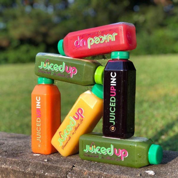 6 Creatively stacked juice bottles